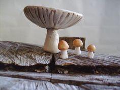 White Mushroom Porcelain Trinket Dish Made to by StudioByTheForest, $22.00