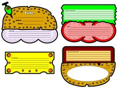 "Students glue these 4 templates together to create their ""yummy"" cheeseburger book report projects.  These fun projects, from Unique Teaching Resources, measure 9 x 21 inches after they have been assembled together."