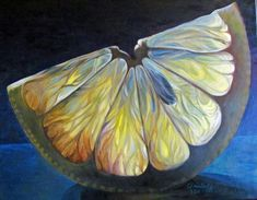 This painting shows an implied gel like texture like a lemon actually has. Movement is also shown in an upwards motion by the vein-y lines in the lemon.