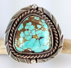 Big Old Navajo Number 8 Spider Web Turquoise Sterling Silver Ring Size 7.5 #1254 #Unbranded