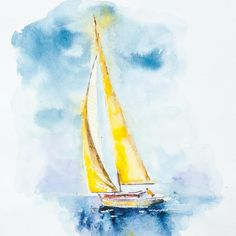 Original YELLOW Art Sailboat Art sailing Art Yellow Wall