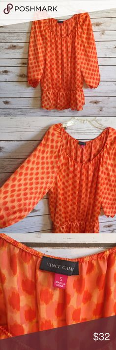 💜Vince Camuto orange print 3/4 sleeve blouse top Size small. Elastic sleeve hems & waist. 100% polyester. EUC  💟Fast 1-2 day shipping 💟Reasonable offers accepted 💟Purchase 3 or more items & get a special bundle rate!  💟Smoke-free home Vince Camuto Tops Blouses