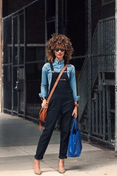 Love the denim shirt and the accessories with the bibs. #ElaineWelteroth in NYC.