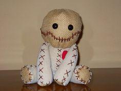 15  Voodoo doll linen fabric burlap plastic eyes by GhoulieDollies.deviantart.com on @deviantART