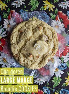 One Dozen Large Marge Blondie Cookies // take a megabite
