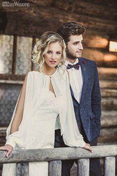 Cabin Fever   Photo: Bonnallie Brodeur Photographes   Bolero Wedding Gown: Creations Vezina   Suit: Le Chateau   Boho Glam