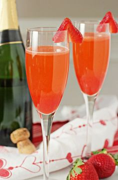 Strawberry bellinis -- maybe w/ raspberry instead for Ducky?  or mango?