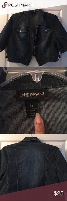 Lane Bryant denim jacket Lane Bryant denim jacket with short sleeves. 2 front pockets and front buttons Lane Bryant Jackets & Coats Jean Jackets