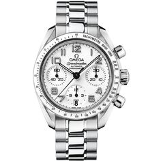 Omega Speedmaster 324.30.38.40.04.001 Watch ($3,927) ❤ liked on Polyvore featuring jewelry, watches, stainless steel, bezel watches, omega wrist watch, dial watches, stainless steel wrist watch and omega watches
