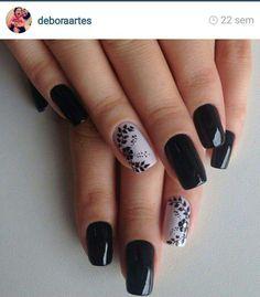 Beautiful Nail Designs, Cute Nail Designs, Fancy Nails, Cute Nails, Make Up, Nail Art, My Favorite Things, Beauty, Black Nails