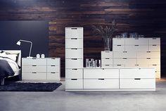 Muebles de dormitorio, incluyendo almacenaje por módulos, de la serie NORDLI