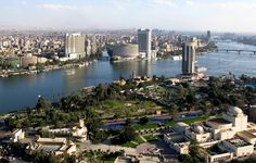 Aerial view of Cairo, Egypt. Cairo is the capital of Egypt and the largest city in the Middle-East and Africa. It's located near the Nile Delta, it was founded in CE 969. (V)