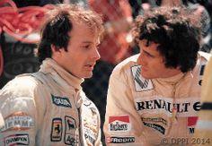 Gilles Villeneuve & Alain Prost. USGP 1982 Long Beach. They had become good friends.