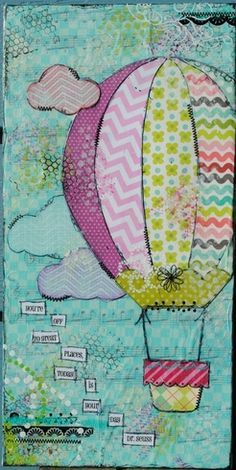 Mixed Media Canvas-Hot Air Balloon : Gallery : A Cherry On Top Mixed Media Journal, Mixed Media Collage, Mixed Media Canvas, Collage Art, Art Journal Pages, Art Journals, Collages, Ideas Geniales, Creative Journal