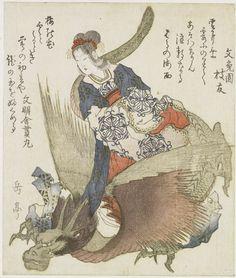 Vrouw met draak, Yashima Gakutei, Buntoen Edatomo, Bunmeisha Nukimaru, 1820