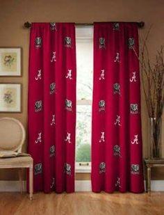 Alabama Crimson Tide Collegiate Drapes - Long NCAA Window Treatment - of the week louis vuitton Alabama Bedroom, Alabama Decor, Sweet Home Alabama, Crimson Tide Football, Alabama Football, Alabama Crimson Tide, Cotton Curtains, Panel Curtains, Curtain Panels