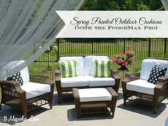 DIY on how to spruce up outdoor furniture by spray painted outdoor cushions