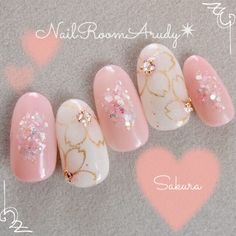 Cherry blossoms pink gel nail