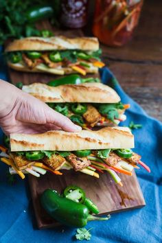 This Vegetarian Tofu Banh Mi Sandwich tastes just like the real deal but is animal product free and SO delicious. Tofu Recipes, Healthy Eating Recipes, Healthy Meal Prep, Real Food Recipes, Vegetarian Recipes, Recipies, Banh Mi Sandwich, Shops, Latest Recipe