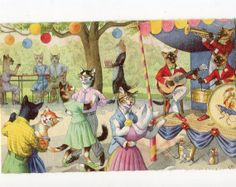 Mainzer dressed cats dancing at the by sharonfostervintage on Etsy, $5.00