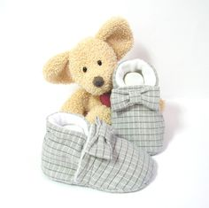 Chaussons bébé gris à carreaux doublés en polaire blanche 0/3 mois Tricotmuse : Mode Bébé par tricotmuse