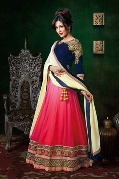 Red Georgette Designer Ghaghra Choli