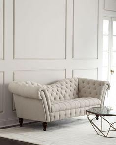 Cream Linen Recamier Sofa, Natural