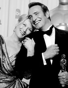 The Academy Award's 2012 Oscar Winners for Best Actress and Actor in Leading Roles, for The Iron Lady & The Artist.
