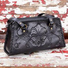 Handcrafted Floral Leather Shoulder Bag - Midnight Rose | NOVICA