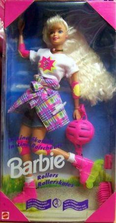 1995 Barbie Rollerskates Doll NUMBER - In-line Skating - Pink Skates with Clear Yellow Wheels Sparked - Mattel Foreign 1980s Barbie, Barbie Box, Vintage Barbie Dolls, Mattel Barbie, Barbie Dress, Vintage Toys, 90s Toys, Childhood Toys, Childhood Memories