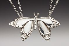 Silver Spoon Jewelry: Vintage Spoon and Fork Jewelry: Butterfly Spoon Necklace
