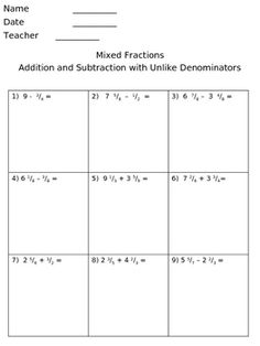how to add mixed numbers with unlike denominators