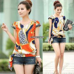 Stylish Womens Floral Printed Chiffon Tee T Shirt Etds Short Sleeve Blouse Tops | eBay