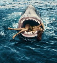 In Honor Of Jaws 40th Anniversary Rihanna Swims With Sharks For Bazaar Magazine - http://urbangyal.com/honor-jaws-40th-anniversary-rihanna-swims-sharks-bazaar-magazine/ #rihanna #jaws #bazaar