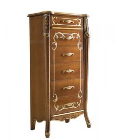 chest of drawer Beautiful line. Sku 6709. Chest of drawer with handmade decorations in gold leaf. Bedroom furniture in wood made by italian artisans.