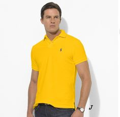 Ralph Lauren Men\u0027s Custom-Fit Stretch-Mesh Short Sleeve Polo Shirt  University Yellow http