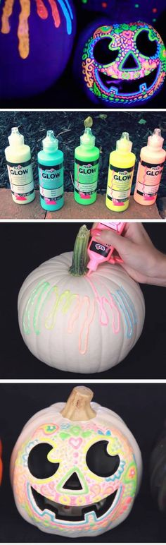 What a cute Halloween idea! DIY Glow in the Dark Pumpkins for fun and spooky front porch decorations on Halloween! What a cute Halloween idea! DIY Glow in the Dark Pumpkins for fun and spooky front porch decorations on Halloween! Humour Halloween, Theme Halloween, Outdoor Halloween, Holidays Halloween, Halloween Treats, Halloween Pumpkins, Fall Halloween, Happy Halloween, Halloween Camping Decorations