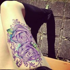 Purple Rose tattoo.. Love the placement. Also a good one to add my daughters name. Maybe angle it a bit though so her name fits