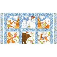 "In the Beginning Kalinka Scenic Squares Panel 24"" - Sold by the Panel"