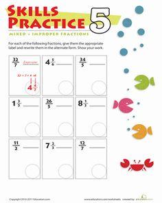 Practice Mixed  Improper Fractions 5 Worksheet