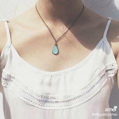 Um pingo de amor   #lojaamei #etiquetaamei #acessorios #colar #turquesa