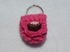 Crochet keychain Coin Cozy, coin holder, coin pouch, mini purse, coin purse, ring holder  - Rose pink with chocolate candy button by honeybee69 on Etsy