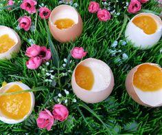 Pana Cotta Eier mit Pfirsichpüree, Easter