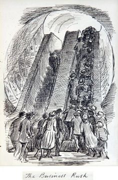 Edward Ardizzone The Business Rush London Underground, Edward Ardizzone, Tinta China, English Artists, A Level Art, Wood Engraving, Art Sketchbook, Book Illustration, Artist Art, Art Forms