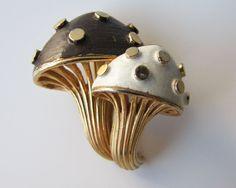 Vintage Marcel Boucher Mushroom Brooch. Enamel Fruits & Veggies Double Figural Pin.  Black White Enamel With Gold Stems And Spots. C1960