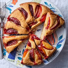 This fruit-topped cake got its name because of the way the batter buckles as it bakes. We omitted the traditional crumb topping to let this plum cake shine. New Recipes, Cake Recipes, Cooking Recipes, Recipies, Sunday Recipes, Fruit Recipes, Summer Dessert Recipes, Ww Desserts, Plum Cake