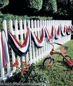 """sew 12"""" strips each of red, white and blue. Hang on railing..."""