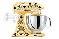 Kitchen mixer vinyl decal set 43 pieces, bees, trails, hives, honey combs and honey sticks- Etsy – My House Hives And Honey, Honey Bees, Honey Sticks, Kitchenaid Stand Mixer, Save The Bees, Custom Vinyl, Bees Knees, Kitchen Aid Mixer, Vinyl Decals