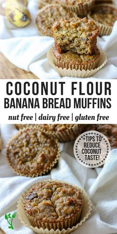 Paleo Coconut Flour Banana Bread Muffins (Nut Free, Dairy Free) +VIDEO - Prepare & Nourish - - Made with coconut flour and are dairy free, nut free, gluten and grain free. They make a delicious, perfectly moist Paleo treat or breakfast on the go. Paleo Dessert, Gluten Free Desserts, Keto Desserts, Coconut Flour Banana Bread, Coconut Flour Recipes, Dairy Free Banana Bread, Dairy Free Muffins, Baking With Coconut Flour, Desserts With Coconut Flour
