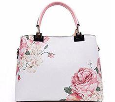 GSBK vintage women tote leather handbag luxury designer shoulder bags women's floral print handbag (pink)